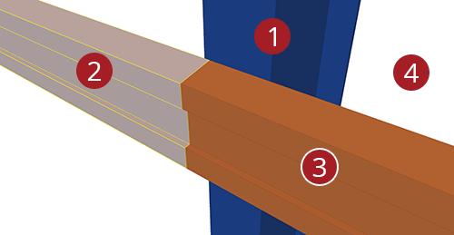 The order to select Tekla Structures model when adding Albion Eaves Beam to Stanchion (104)