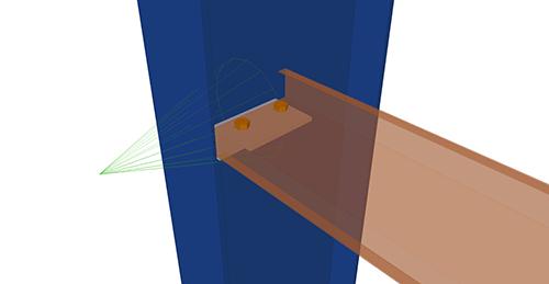 Tekla Structures model after adding Albion Non-Continuous Rail (106) connection