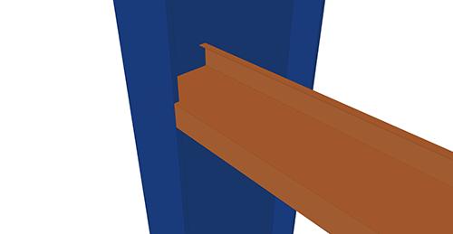 Tekla Structures model before adding Albion Non-Continuous Rail (106) connection