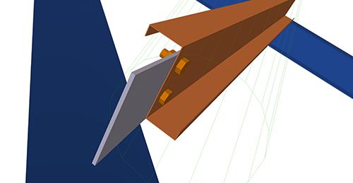 Tekla Structures model after adding Albion Simple Hip (14) connection