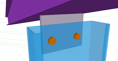 Tekla Structures model after adding Ayrshire Gable Post Shear Plate (105) connection