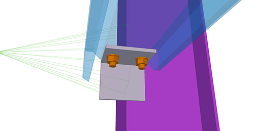 Tekla Structures model after adding Ayrshire Non-Continuous Rail (106) connection