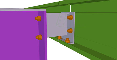 Tekla Structures model after adding Ayrshire Eaves Beam to Stanchion (113) connection