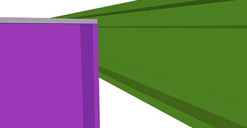 Tekla Structures model before adding Ayrshire Eaves Beam to Stanchion (113) connection