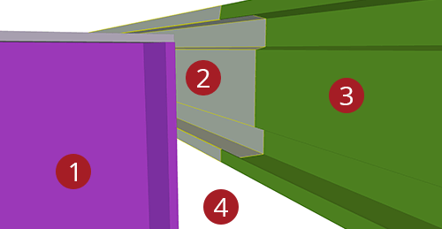 The order to select Tekla Structures model when adding Ayrshire Eaves Beam to Stanchion (113)