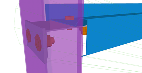 Tekla Structures model after adding Ayrshire Cold Rolled Cleat (115) joint