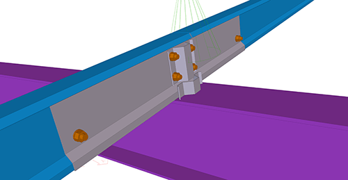 Tekla Structures model after adding Ayrshire Cold Rolled Sleeved (119) connection