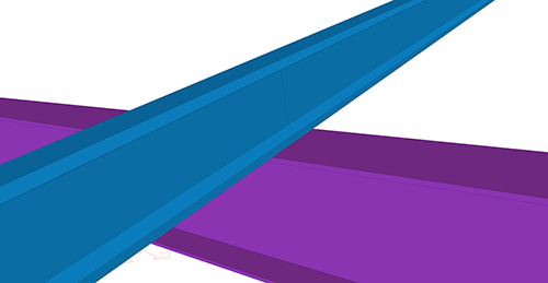 Tekla Structures model before adding Ayrshire Cold Rolled Sleeved (119) connection