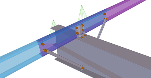 Tekla Structures model after adding Ayrshire Cold Rolled Overlap (126) joint
