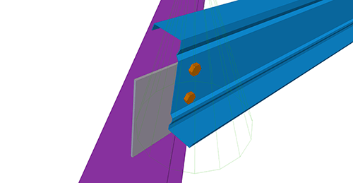 Tekla Structures model after adding Ayrshire Simple Hip (14) connection