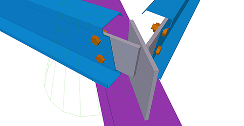 Tekla Structures model after adding Ayrshire Shearplate to Hip (8) connection