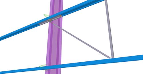 Tekla Structures model after adding Ayrshire Diagonal Tie Column (81)