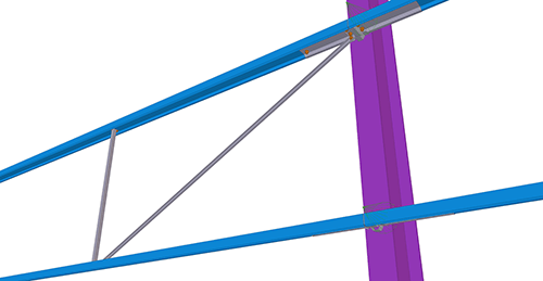 Tekla Structures model after adding Ayrshire Diagonal Tie Cleat (82)