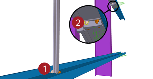 The order to select Tekla Structures model when adding Ayrshire Diagonal Tie Cleat (82)