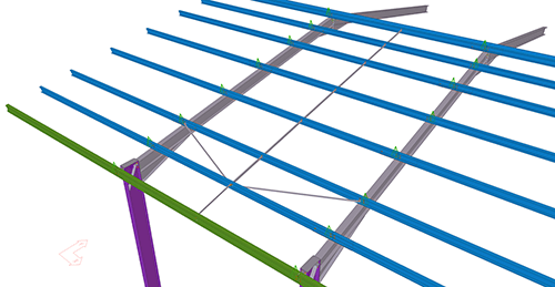 Tekla Structures model after adding Ayrshire Std. Anti-Sag Bay (89)