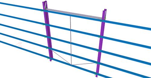 Tekla Structures model after adding Ayrshire Standard Side Rail (90)