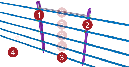 The order to select Tekla Structures model when adding Ayrshire Standard Side Rail (90)