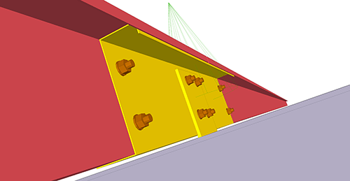 Tekla Structures model after adding BW Industries Cold Rolled Sleeved (131) connection