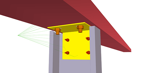 Tekla Structures model after adding BW Industries Cold Rolled Cleat (133) joint