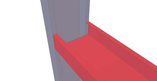 Tekla Structures model before adding BW Industries Cold Rolled Cleat (133) joint