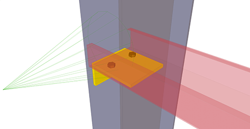 Tekla Structures model after adding BW Industries Non-Continuous Rail (134) connection