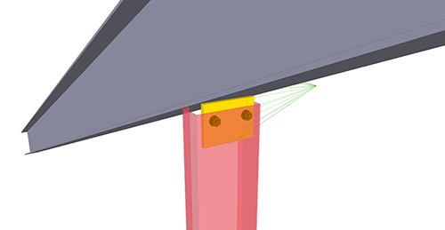 Tekla Structures model after adding BW Industries Gable Post Shear Plate (135) connection