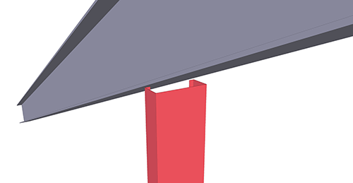 Tekla Structures model before adding BW Industries Gable Post Shear Plate (135) connection
