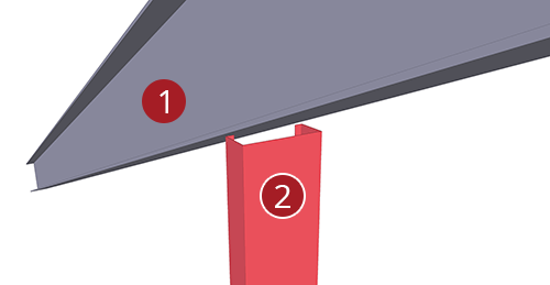 The order to select Tekla Structures model when adding BW Industries Gable Post Shear Plate (135)