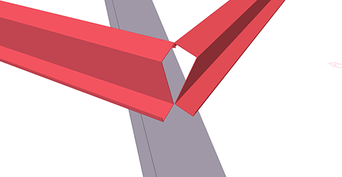 Tekla Structures model before adding BW Industries Shear Plate to Hip (137) connection