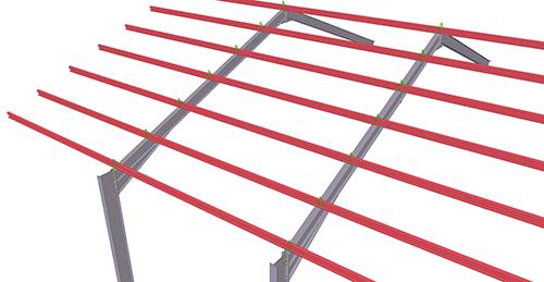 Tekla Structures model before adding BW Industries Standard Anti-Sag Bay (53)