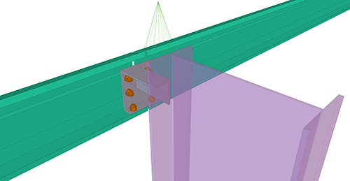 Tekla Structures model after adding CMF Eaves Beam to Stanchion (27)