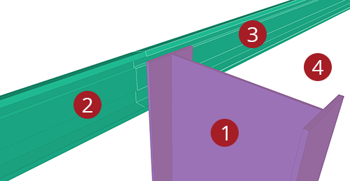 The order to select Tekla Structures model when adding CMF Eaves Beam to Stanchion (27)