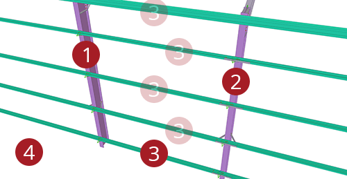 The order to select Tekla Structures model when adding CMF Side Rail Supports (28)