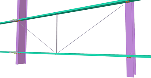 Tekla Structures model after adding CMF Diagonal Ties (55)