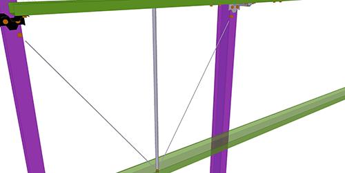 Tekla Structures model after adding Duggan Steel Diagonal Ties