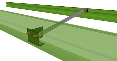 Tekla Structures model after adding Duggan Steel Eaves Brace