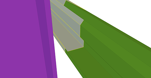 Tekla Structures model before adding Duggan Steel Eaves Beam to Stanchion connection