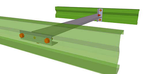 Tekla Structures model after adding Duggan Steel Non-Continuous Rail connection