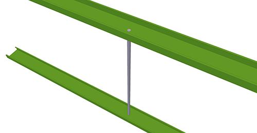 Tekla Structures model after adding Duggan Steel Non-Standard Side Rail