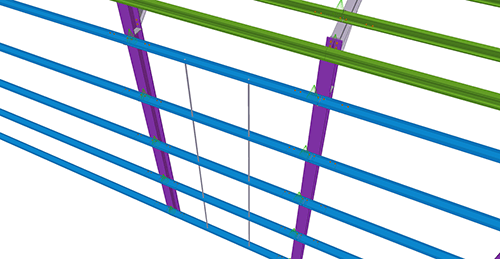 Tekla Structures model after adding Duggan Steel Side Rail Supports