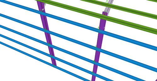 Tekla Structures model before adding Duggan Steel Side Rail Supports