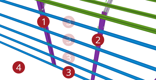 The order to select Tekla Structures model when adding Duggan Steel Side Rail Supports