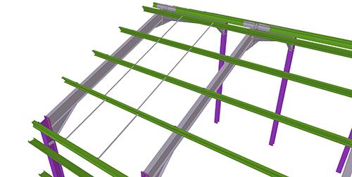 Tekla Structures model after adding Duggan Steel Standard Anti-Sag Bay