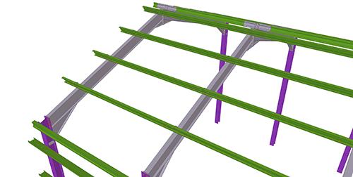 Tekla Structures model before adding Duggan Steel Standard Anti-Sag Bay
