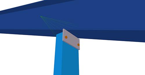 Tekla Structures model after adding Kingspan Gable Post Shear Plate (105)