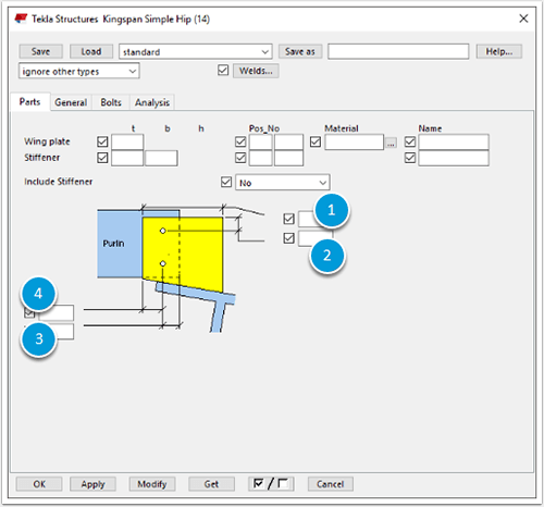 Tekla Structures properties Parts tab for Kingspan Simple Hip (14)