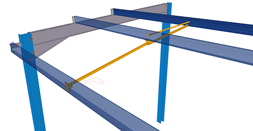 Tekla Structures model after adding Kingspan Extended Boundary Wall Eaves Beam Strut (17)