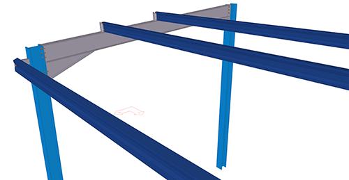 Tekla Structures model before adding Kingspan Extended Boundary Wall Eaves Beam Strut (17)