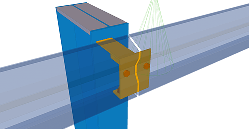 Tekla Structures model after adding Kingspan Eaves Beam to Stanchion (27)
