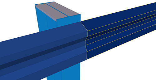Tekla Structures model before adding Kingspan Eaves Beam to Stanchion (27)